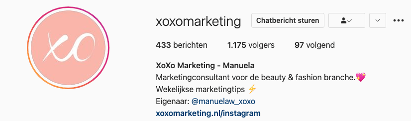 Instagramprofiel XoXo Marketing